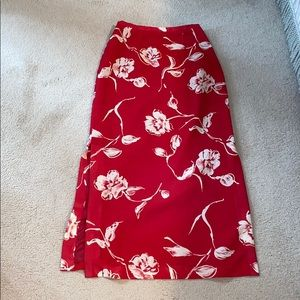 Red and white flowery skirt